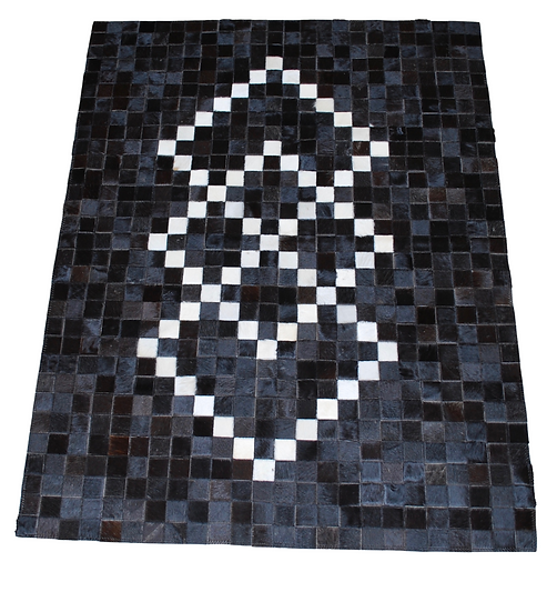 Patchwork Cowhide Rug | Black with Ivory | 120cm x 150cm