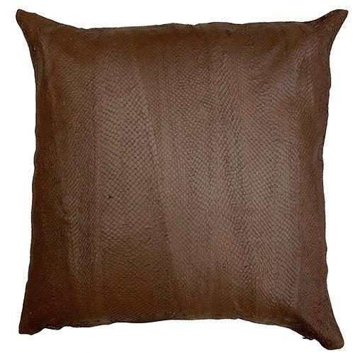 Salmon Leather Cushion | Dark Brown | 50cm x 50cm