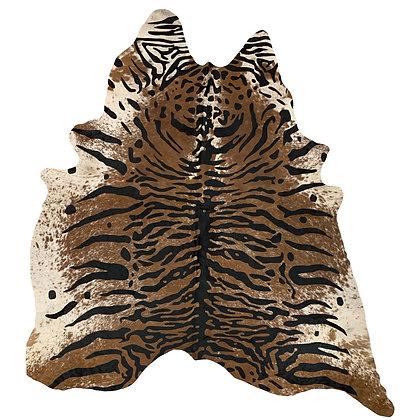 Java Tiger Printed Cowhide Rug Black on Brown Speckle