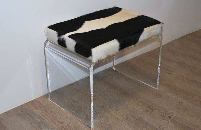 Acrylic Bench | Black and White Cowhide