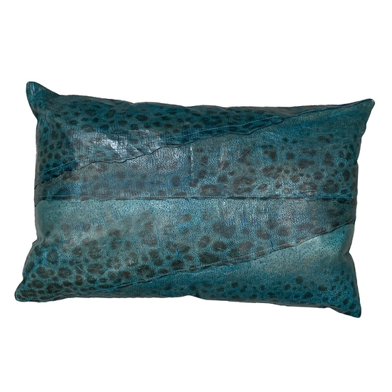 wolffish leather cushion or pillow in blue