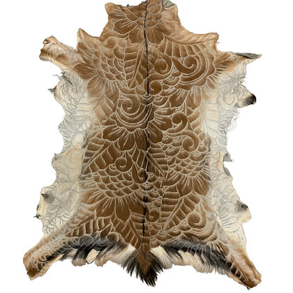 Goat Hide Rugs   Hand Carved Natural   10283