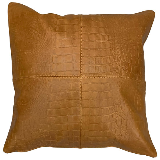 Leather Throw Pillow | Golden Tan Leather Crocodile Emboss | 45cm x 45cm