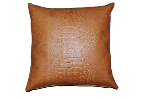 Leather Throw Pillow   Golden Tan Leather Crocodile Emboss 45cm x 45cm