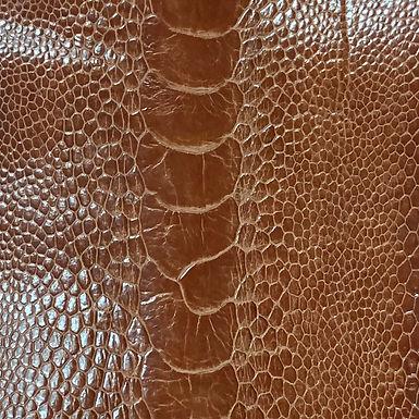 Ostrich Leg Leather   Almond   Glazed Finish