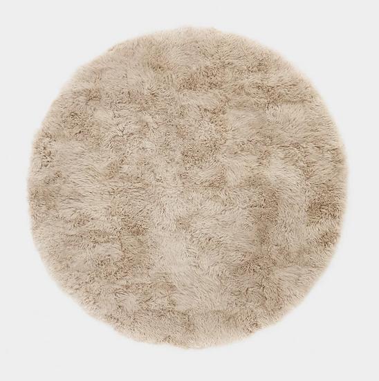 Round Longhair Sheepskin Rug | Stone