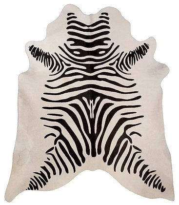 Zebra Printed Cowhide | Black on White