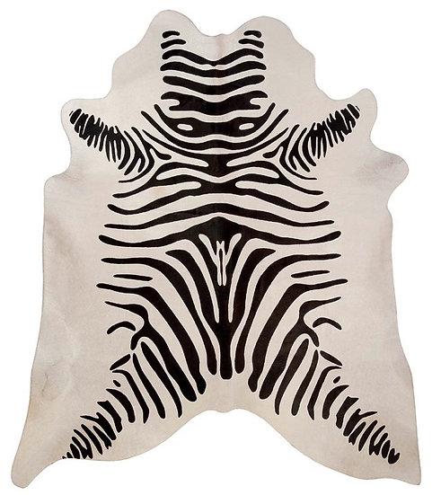 Zebra Printed Cowhide | Black on White