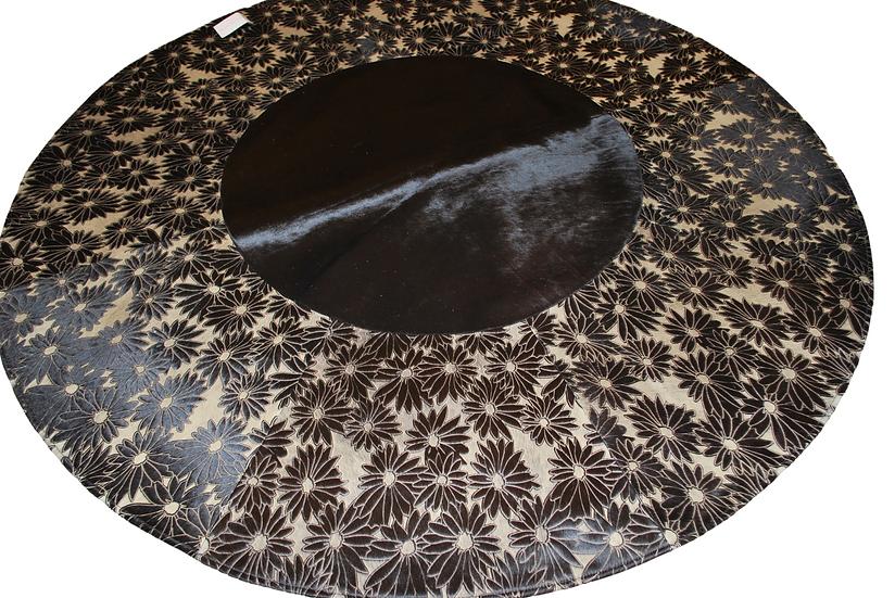 Patchwork Cowhide Rug | Round Laser Floral