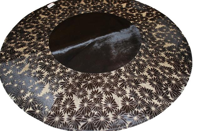 Patchwork Cowhide Rug | Round Laser Floral | 200cm