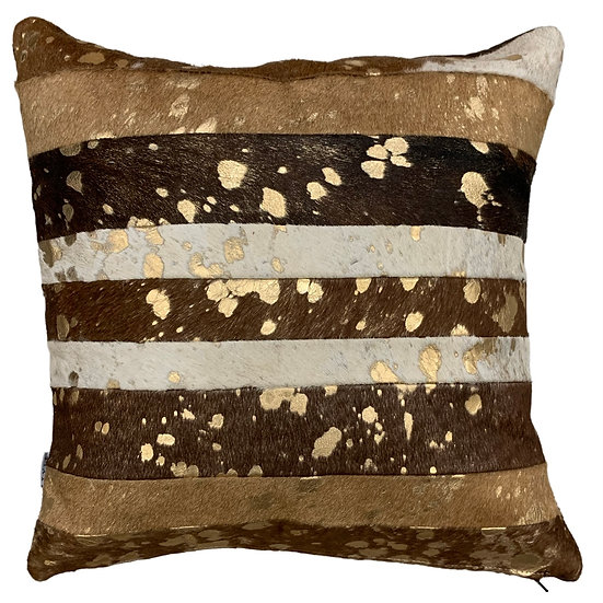 Cowhide Pillow | Brown & White Gold Metallic | 45cm x 45cm