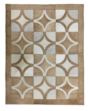 Patchwork Cowhide Rug | Beige & White 70cm x 90cm