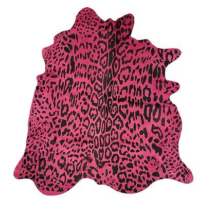Jaguar Printed Cowhide Rug Black on Pink