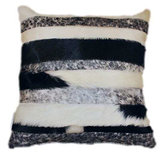 Cowhide Cushion | Stripes | Black and White