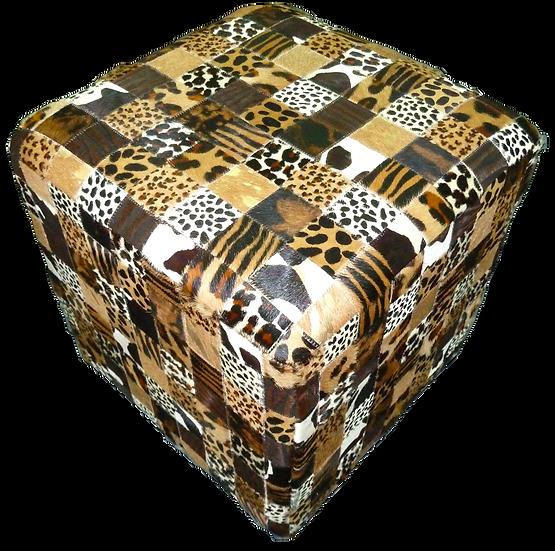 Cowhide Cube Ottoman   Safari
