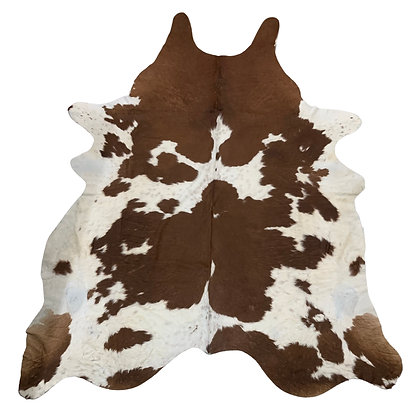 Cowhide Rug   Brown and White   XL   10143