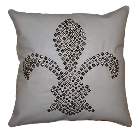 Leather Throw Pillow | Grey Leather Studded 45cm x 45cm