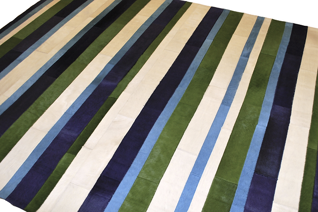 Patchwork Cowhide Rug | Green, Blue, White 170 x 240cm