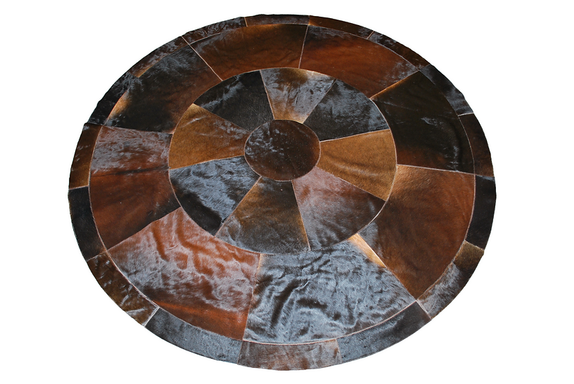 Montevideo Patchwork Cowhide Rug   Natural Chocolate 180cm