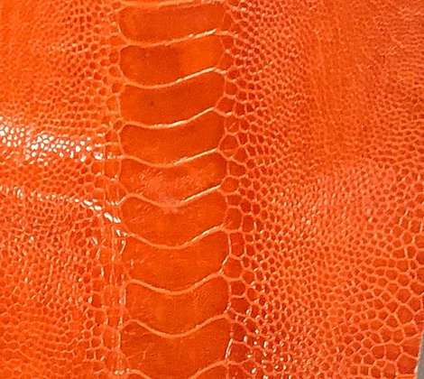 Ostrich Leg Leather | Mandarin Orange | Glazed Finish