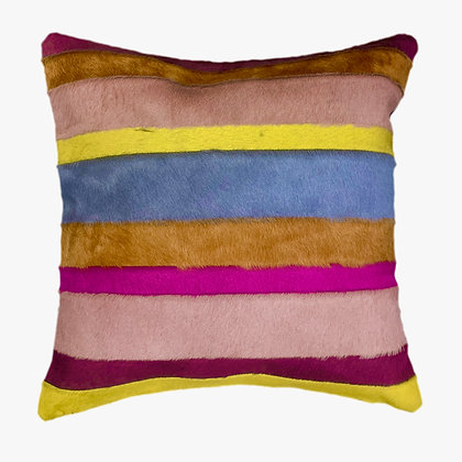 Italian Cowhide Cushion   Multi stripes   45cm x 45cm
