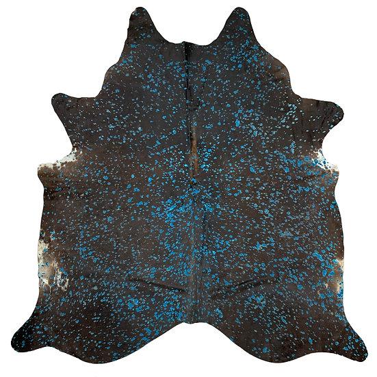 Cowhide Rug | Devorre Splash | Black Turquoise
