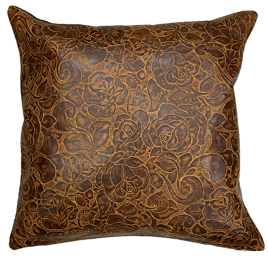 Leather Throw Pillow | Western Floral Emboss