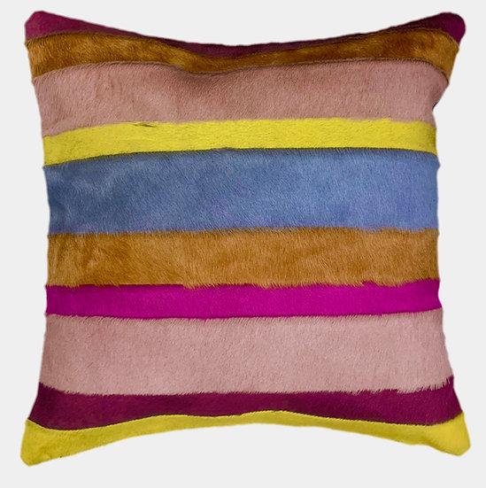 Cowhide Cushion   Stripes   Multicolour