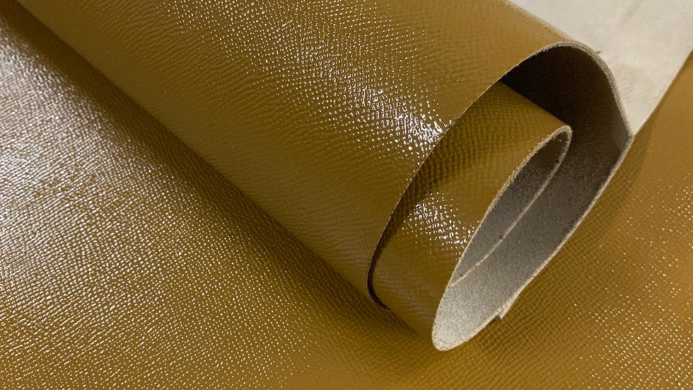 High Gloss Epsom Leather | Green Ochre