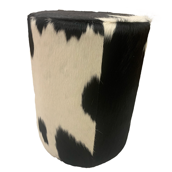 Cowhide Stool Ottoman | Natural Black and White