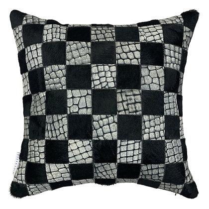 Cowhide Cushion | Black with White Croc | 45cm x 45cm