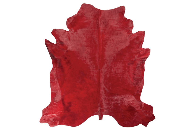Dyed Italian Cowhide rug Rosso Red