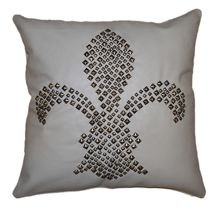 Leather Throw Pillow | Grey with Studs