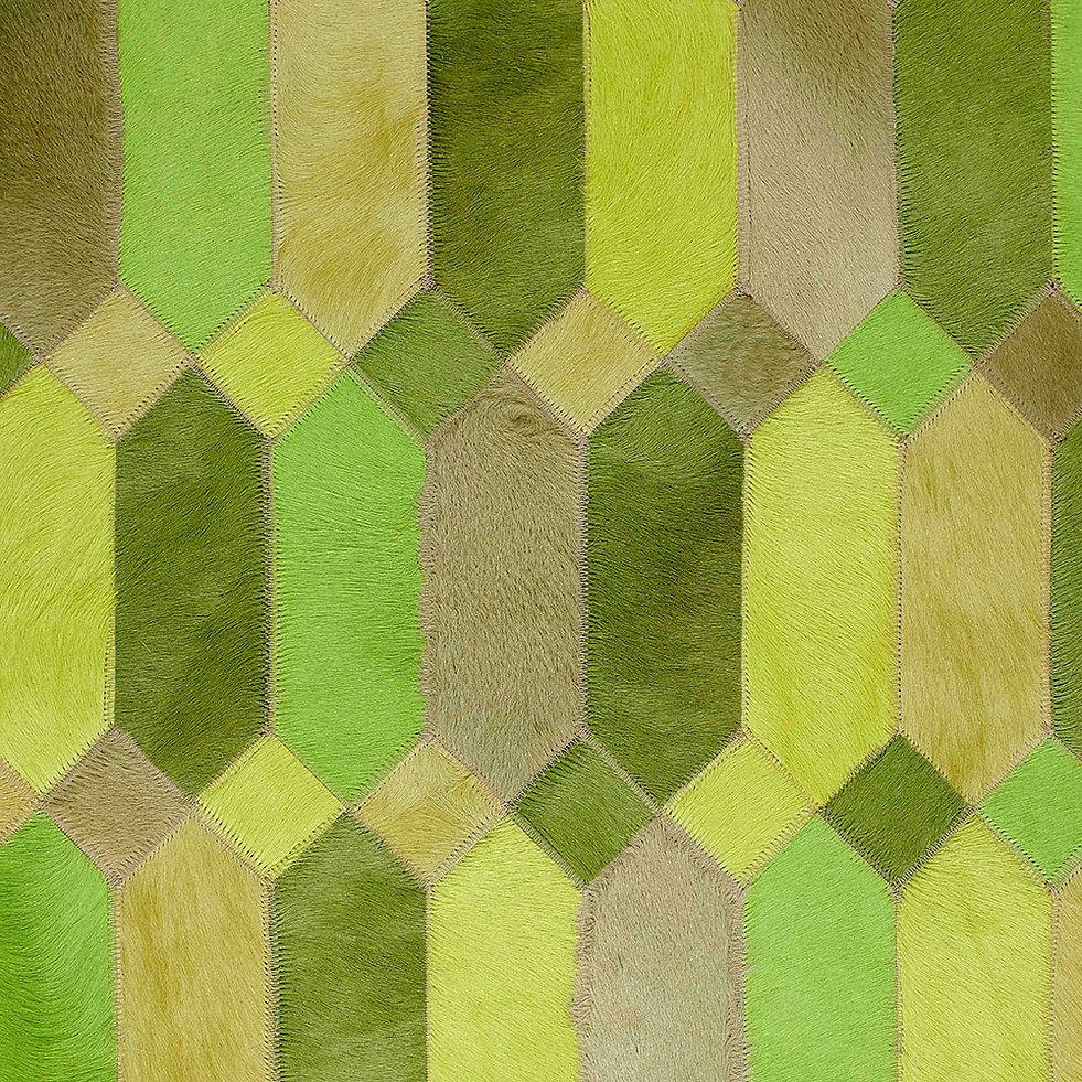 Gioia Cowhide Design rug in greens