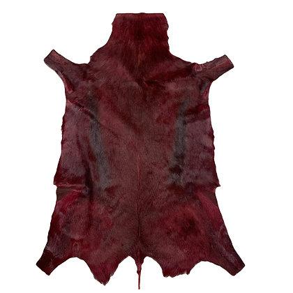 burgundy springbok hide rug