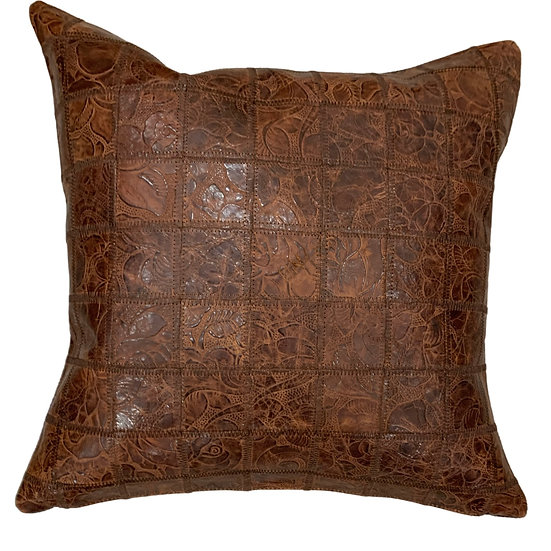 Leather Throw Pillow | Multi Panel Western Floral Emboss