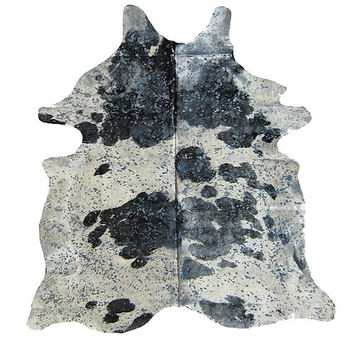 Metallic Splash Cowhide | Natural Black and White with Silver