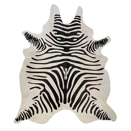 Zebra Printed Cowhide Rug black Stripes on White