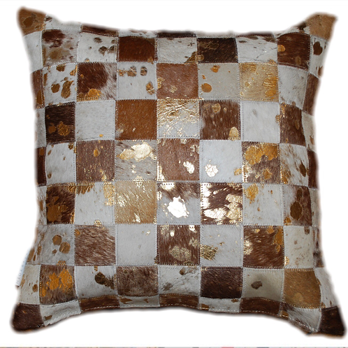 Cowhide Cushion | Brown & White Gold Splash | 45cm x 45cm