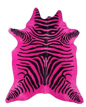 Dyed Zebra Cowhide | Black on Pink