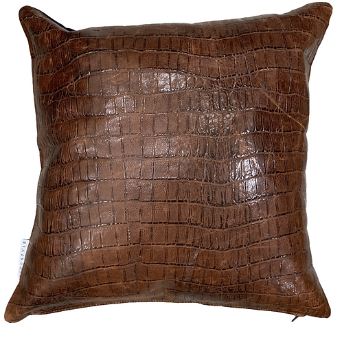 Leather Throw Pillow | Glazed Croc Emboss