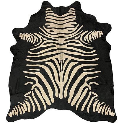 Zebra Printed Cowhide   White on Black Reverse