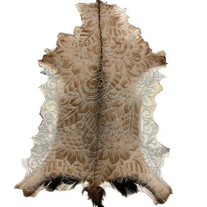 Goat Hide Rugs | Hand Carved Natural | 10298