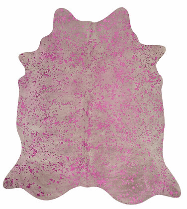 White Cowhide Rug | Pink Metallic Splash