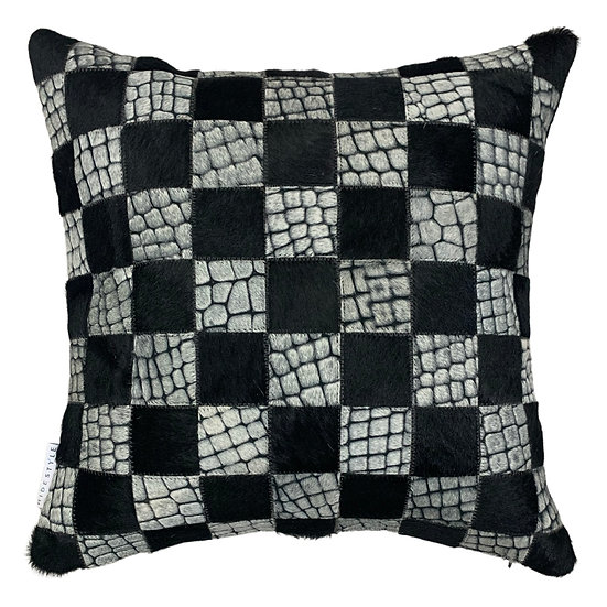 Cowhide Pillow | Black with White Croc | 45cm x 45cm