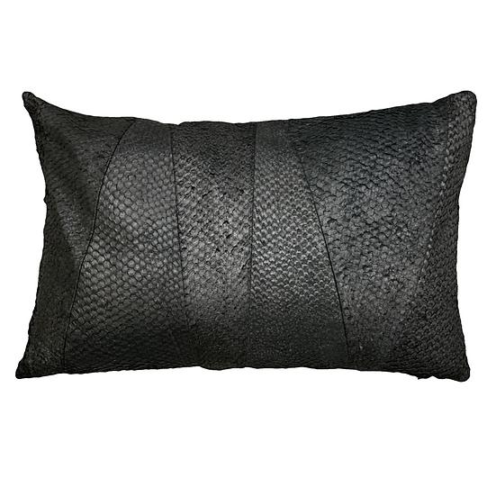 Nile Perch Leather Cushion | Black Pearl