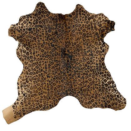 leopard printed calf hide rug