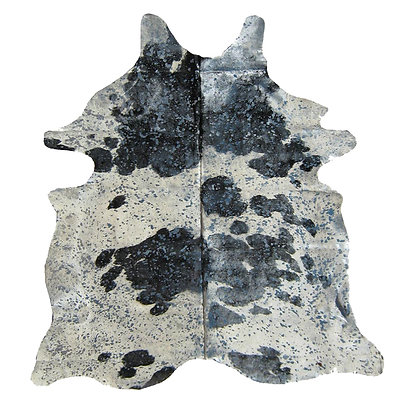 Black and White Cowhide Rug | Silver Metallic Splash