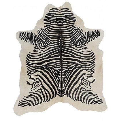 African Zebra Printed Cowhide | Black on White