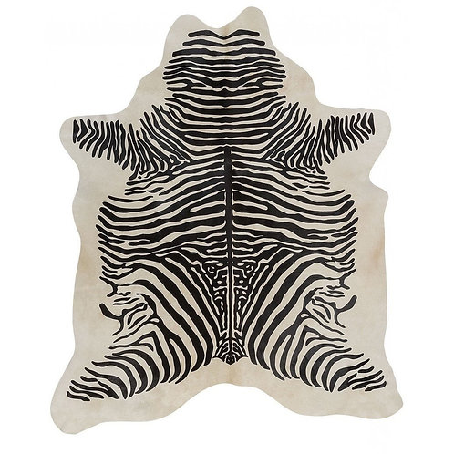 African Zebra Printed Cowhide | Black on White